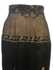 Black-and-gold, silk, brocade, high-waisted pant with floral motif on front top and on legs.