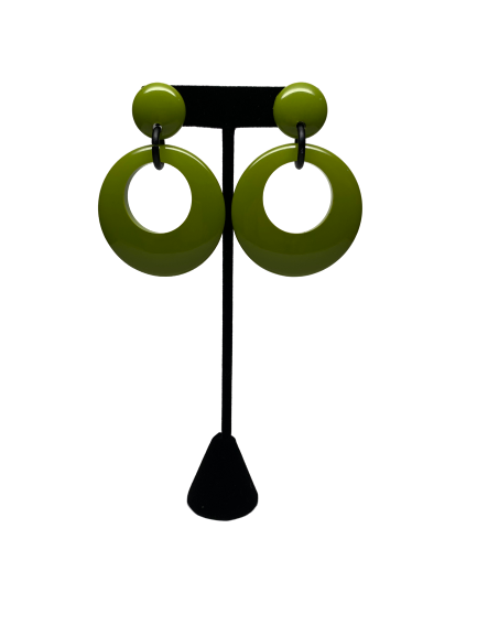 1980s does 1960s Pea Green Drop Earrings