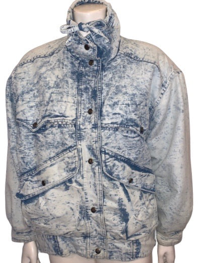 1980s Unisex Izzi Oversized Acid Wash Denim Jacket