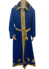 Costume wizard robe in blue with gold trim and hood.  Gold fabric belt with tassels at waist. Comes with pointed hat with tassel . Both pieces are adorned with cutout appliques of moons and stars.