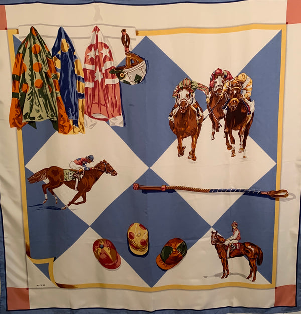Silk Scarf with an Equestrian, jockey, motif printed over blue and red checkered squares