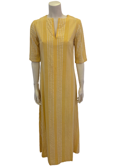 Yellow & white, vertical-striped, full-length caftan.
