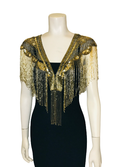 Gold & Black Sequin Mirrored Beaded Shawl