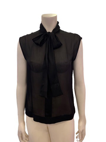 1970s Yves Saint Laurent Rive Gauche Pure Silk Sheer Sleeveless Pussycat Bow Top