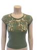 Shirin 100% Cashmere Sea Foam Green Sheer Mesh Floral Cutout Sweater