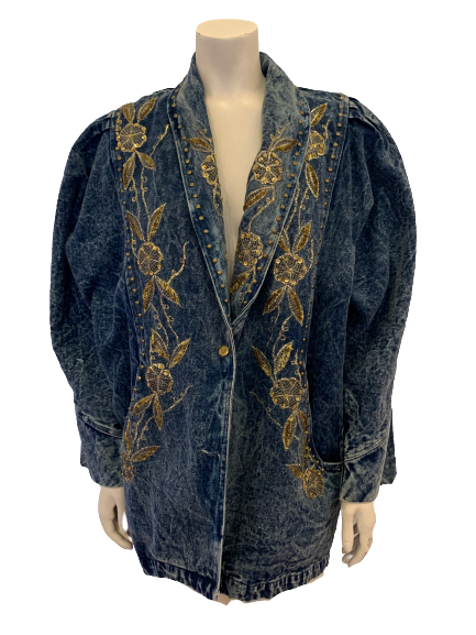 1980s Acid Wash Jacket w/ Gold Embroidery, Sequins, Beading & Studs