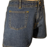Navy denim high waisted shorts with 2 front patch pockets, zip front and button at waist