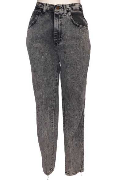 Black, acid-wash, high-waisted jeans with zipper-front, button at waist, and two pockets.