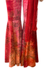 Red, tie-dye, velvet, bejewelled, two-piece set. Consists of bell-bottom pants and halter bra-top.