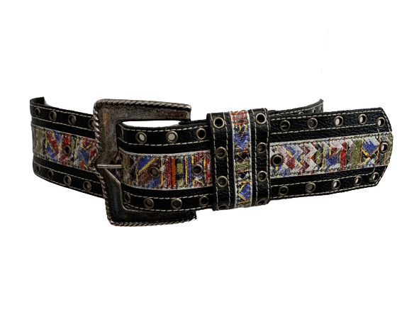 Black Leather Wide 1980s Belt Geometric Pattern
