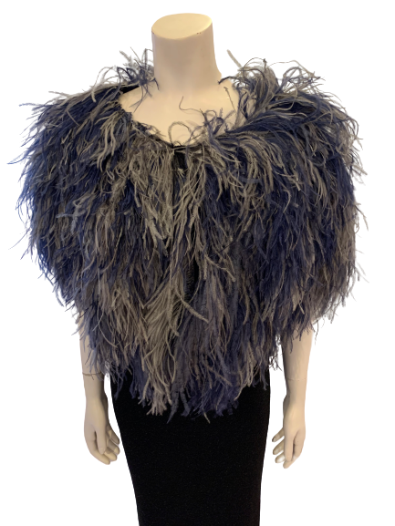Grey-blue Ombre Feather Shawl