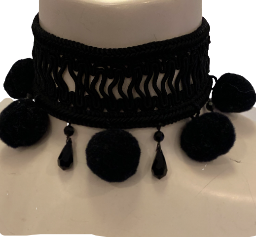Yves Saint Laurent 1970s Rare Black Woven Choker w/ Beads & Pom Poms