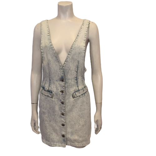 1980s Light Acid Wash Mini Dress