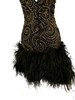 Strapless, black dress with all-over gold & black beading in a swirl pattern. Rows of black, marabou feathers at the bottom hem.
