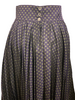 1980s Romeo Gigli Navy Blue Patterned Pleated Maxi Skirt