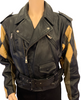 Black, zip-up leather jacket with diamond-shaped patchwork sleeves in black, brown, and tan and a black belt.