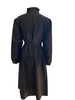 Full length view of black trench coat posterior on a mannequin.