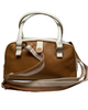 Tan bowler style handbag with white trim and handles.  Zipper top and detachable striped cloth shoulder strap