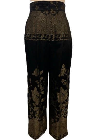 1980s Christian Lacroix Black & Gold Silk Brocade Formal Pants