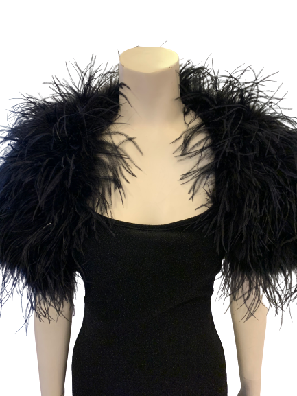 Shoulder shrug  in black feathers lays across shoulders  Also available in white.