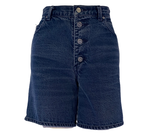Indigo blue high waisted shorts with wide knee length leg, four metal buttons closure and two front pockets