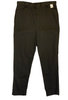 Front view of men's black cotton pants with a tag at the waistband