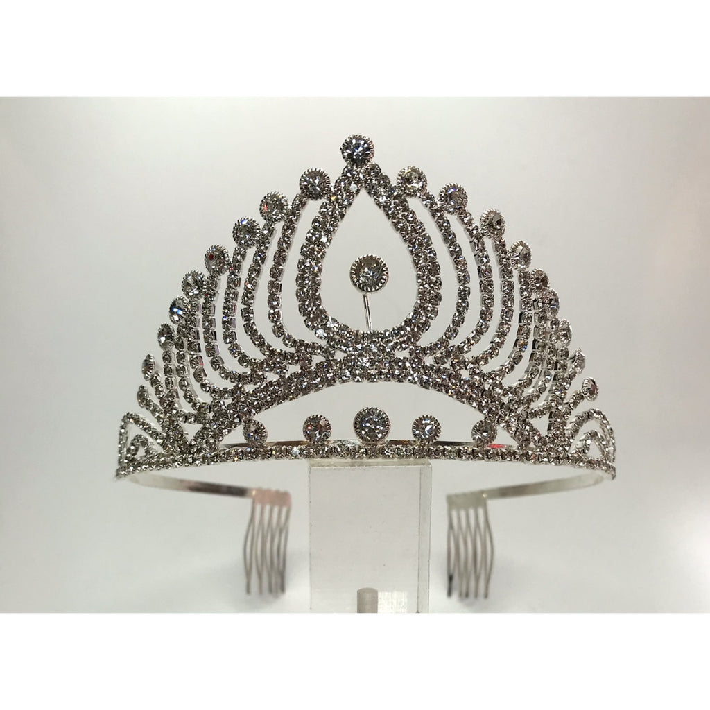 Silver tiara with tear drop shaped wiring encrusted with rhinestones and securing combs in the back.