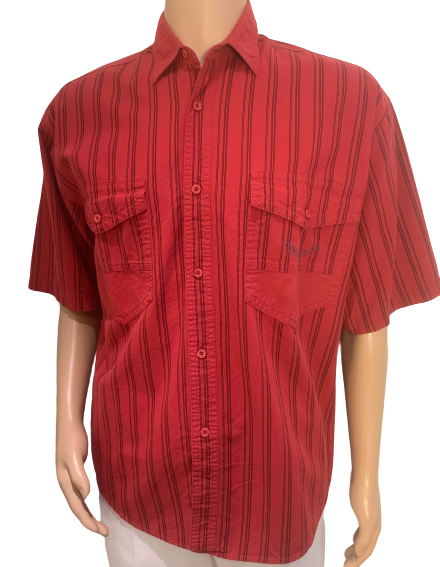 1980s Bugle Boy Red Vertical Stripe Shirt
