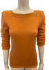 Orange wool three quarter length sleeve sweater with a square neckline and hip length