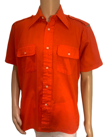 1970s Orange Button Down with Epaulettes