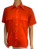 Mens 1970s Orange Button Down with Epaulettes