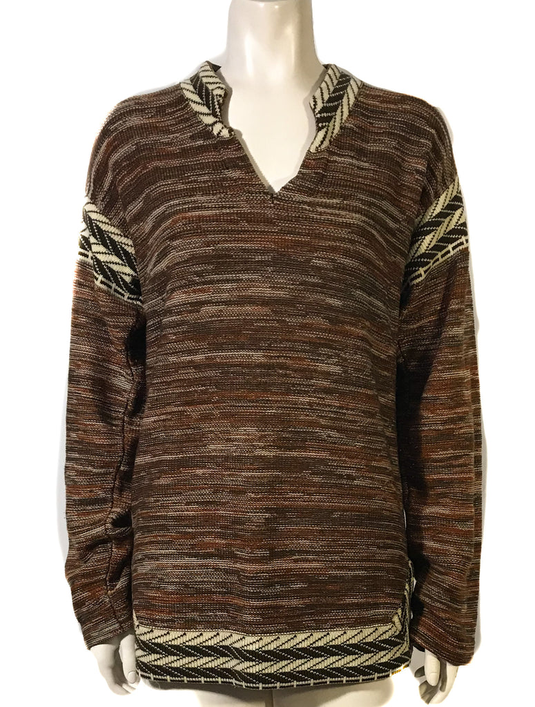 Front view of mannequin wearing a 1970s brown v neck tunic sweater