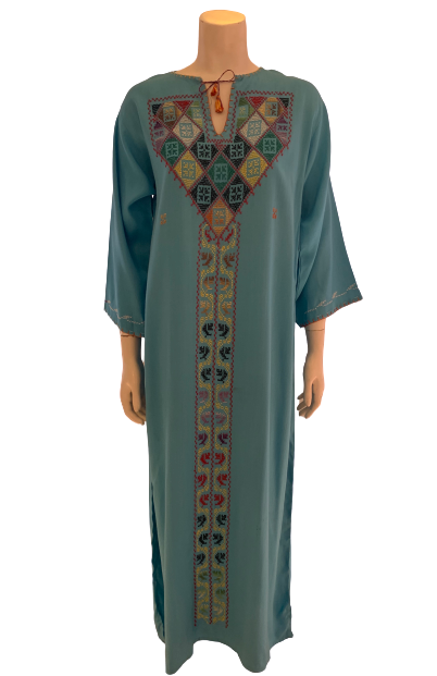 1970s Aqua Blue Kaftan w/ Hand Embroidered Geometric Cross Stitching
