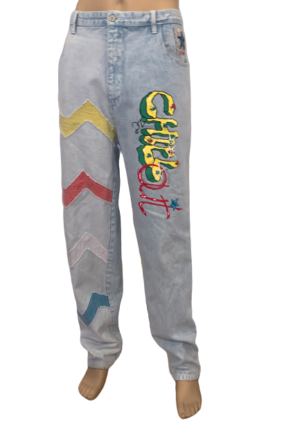 1980s Mens Acid Wash Chevron Applique Graffiti Pants