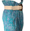 1980s Wet Seal Blue Geometric Print Paper Bag Waist Short