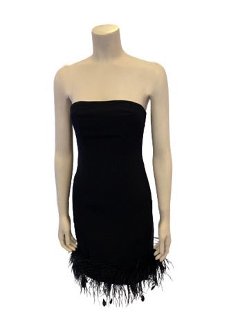1990s Vintage Black Strapless Mini Dress with Feather Trim