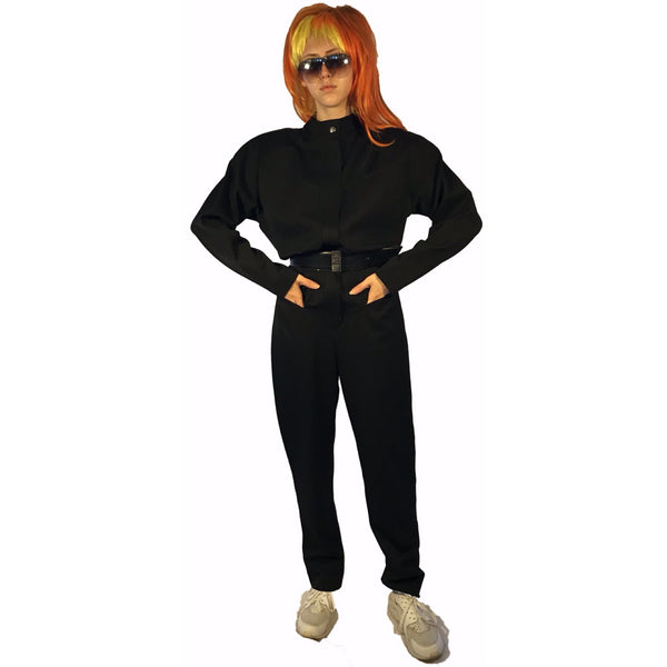 Black, wool, zip-up, long-sleeve jumpsuit with belt-loops and pockets.
