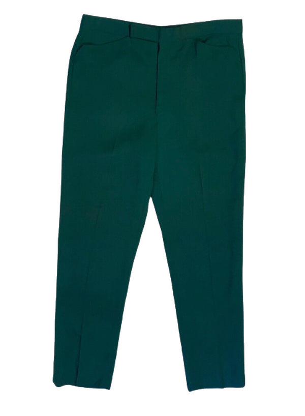 Front view of men's forest green trousers