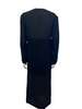 Black, floor-length, paneled dress with long sleeves.