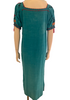 Back view of mannequin wearing Mexican aqua blue long dress with floral cross stitch embroidery