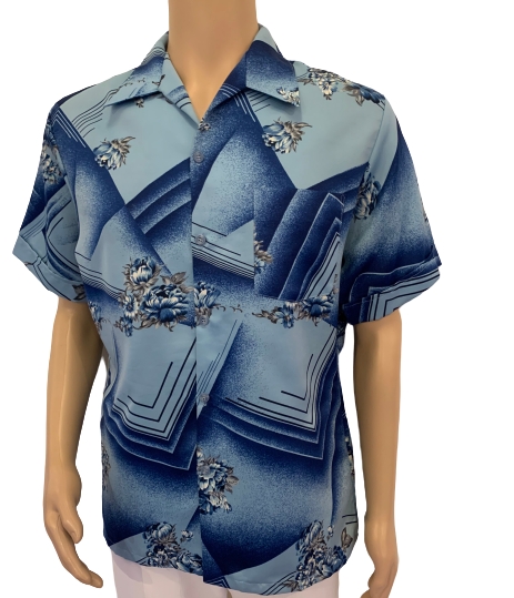 1970s Blue Geometric & Floral Short Sleeve Button Down Shirt