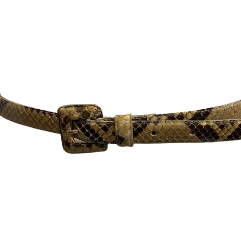 A skinny waist belt by Nancy Gonzales featuring a genuine python band and a python covered square buckle.