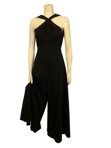 Black, wide-leg, cross-halter jumpsuit with slit in neckline.