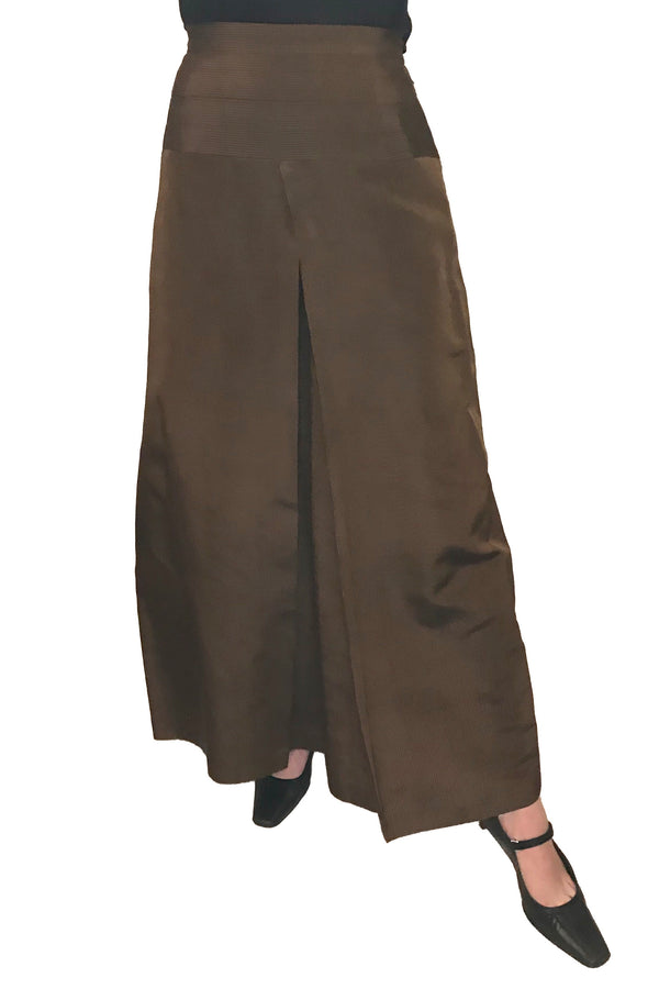 1970s Custom Made Brown Formal Palazzo Culottes