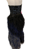 Strapless, black, evening gown. Blue & black beaded, boned, corset-top. Full-length, blue ombre, feather skirt. Back zipper.