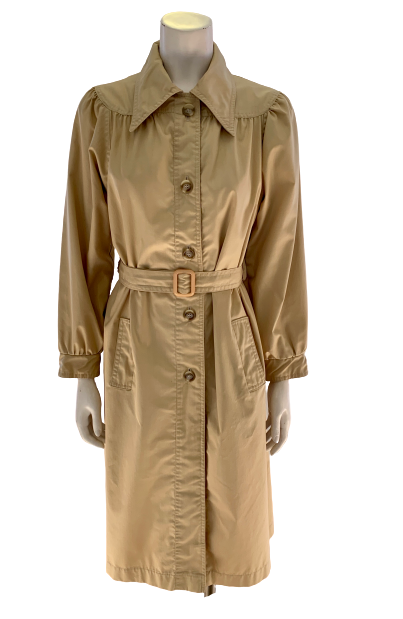 Front view of mannequin in a 1970s Beige Trench Coat with a round yoke and pointed collar