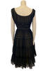 1950s Black & Nude Sleeveless Swing Dress w/ Ruching & Lace