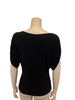 Black, boatneck, drapey shirt with batwing sleeves.