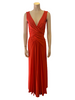 Long maxi sleeveless coral lycra dress  with ruching and draping at waist.