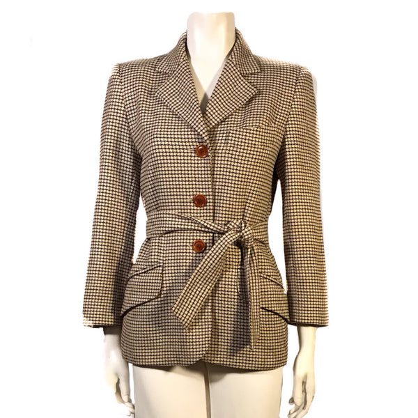 1990s Escada Plaid Tie Waist Jacket